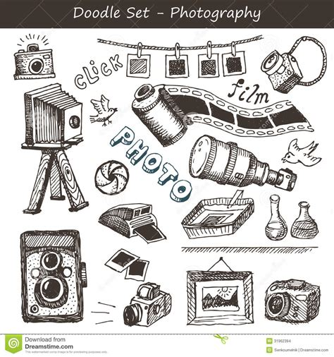 photo doodle doodle photography set stock vector image of