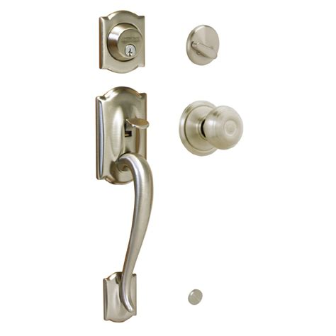 Locks For Front Doors Shop Schlage Camelot Satin Nickel Single Lock Keyed Entry Door Handleset At Lowes