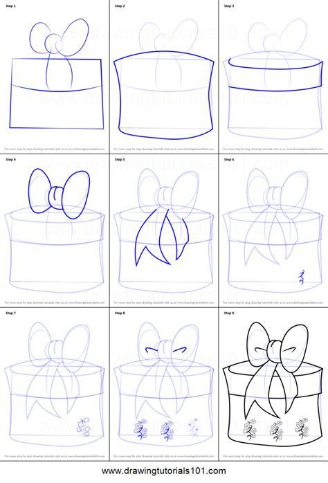 christmas drawing step by step and gift to gift cartoon how to draw giftbox with ribbon printable step by step drawing sheet