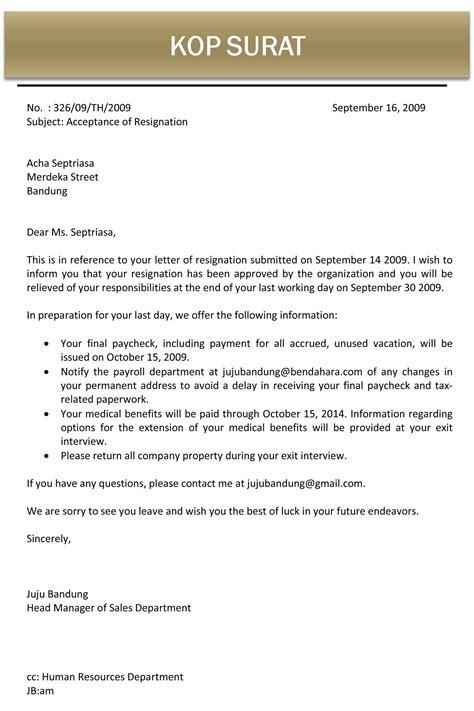 surat menerima pengunduran diri bahasa inggris jujubandung