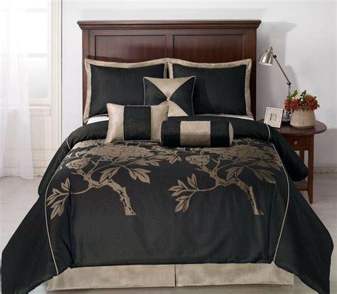 King Bedding by Nuit 7pc Jacquard Comforter Set Black Khaki