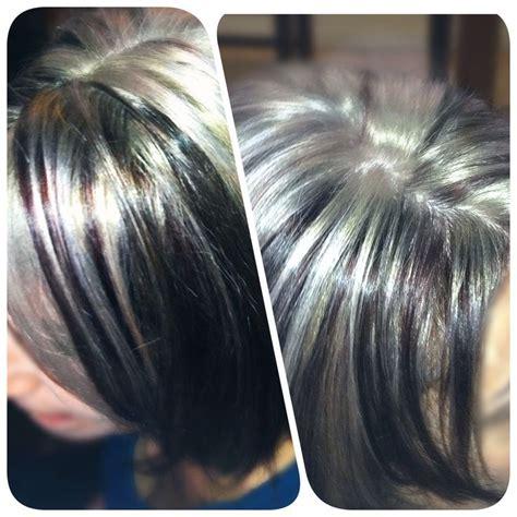 black lowlights on gray hair grey highlights on dark hair highlights pinterest