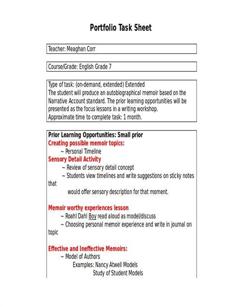 task sheet examples samples    examples