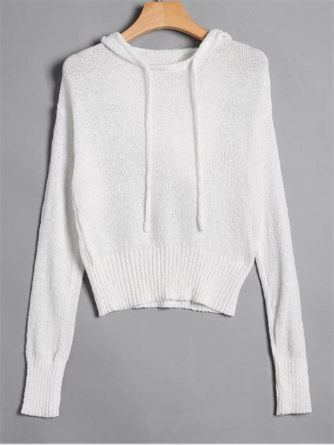 Hooded Drawstring Pullover pullover drawstring hooded knitwear white sweaters s zaful
