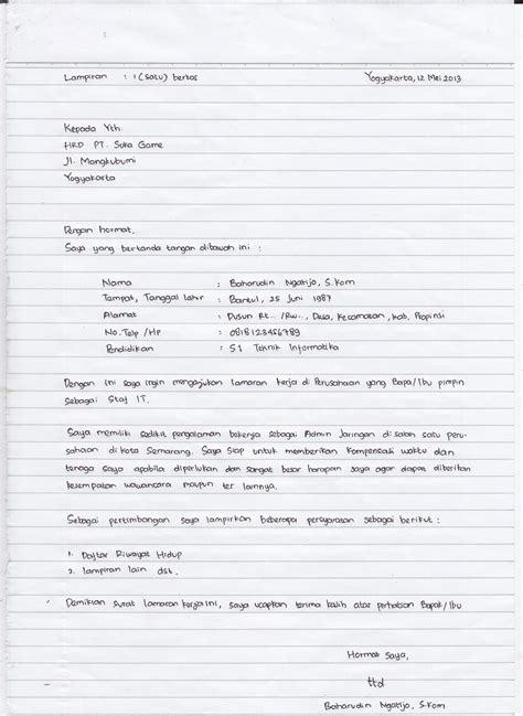 Lamaran Kemendikbud Tulis Tangan Kertas by Surat Lamaran Kerja Huruf Tegak Bersambung Ben
