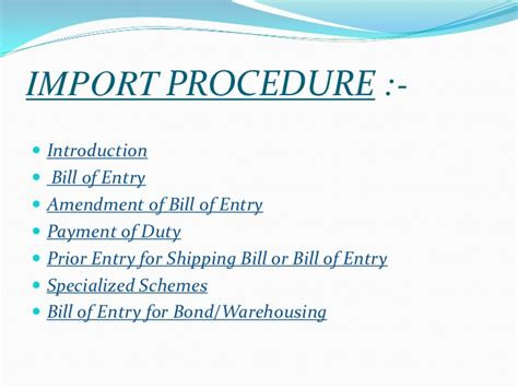 Export Import Procedures And Documentation Mba Notes by Ppt Of Custom Procedure 001