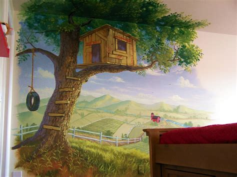 painting for house child s room decor on murals tree houses and