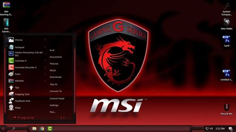 theme windows 10 msi windows 10 theme msi gaming glass rs3 rs2 youtube