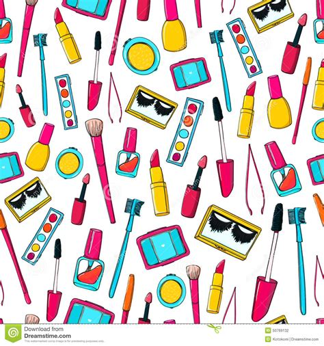 makeup pattern vector seamless vector pattern with makeup tools brushes stock