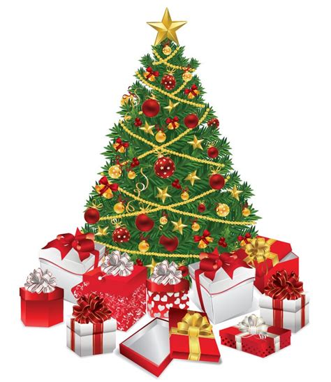 christmas tree with gifts vector illustration free