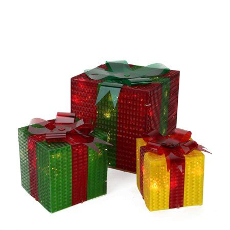 3 glistening prismatic gift box lighted yard decoration set walmart