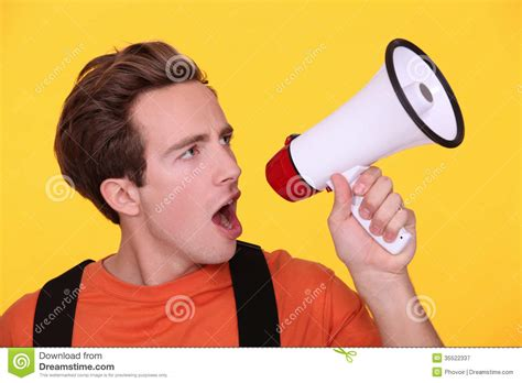 Floor Plan Builder Free man hollering into megaphone royalty free stock