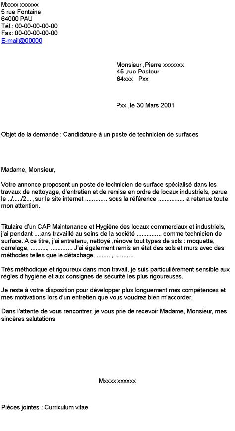 Exemple De Lettre De Motivation Technicienne De Surface Candidature 224 Un Poste De Technicien De Surfaces