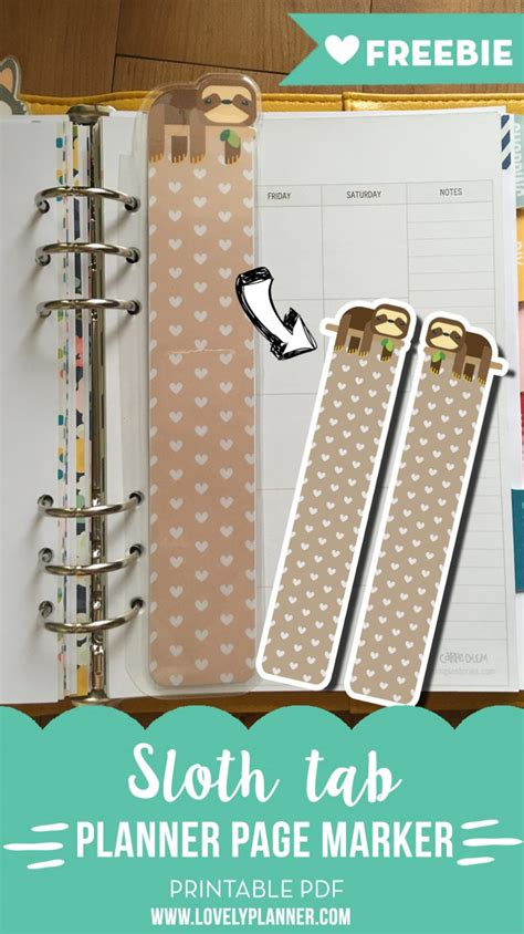 printable planner markers sloth page marker tab for a5 planners free printable
