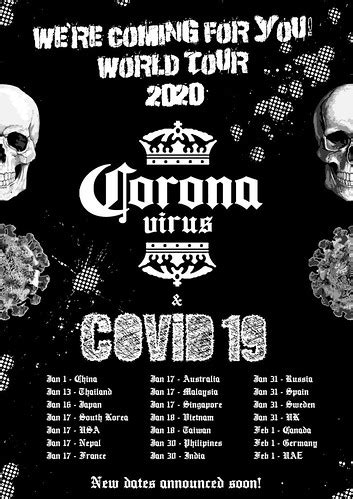 Corona virus world tour 2020 poster   The news has a lot