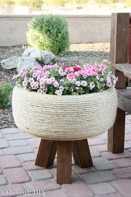 Recycled Planter by Turn An Tire Into A Gorgeous Planter Addicted 2 Diy