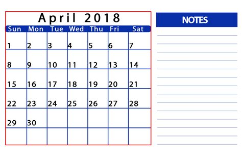 april 2018 calendar templates tools