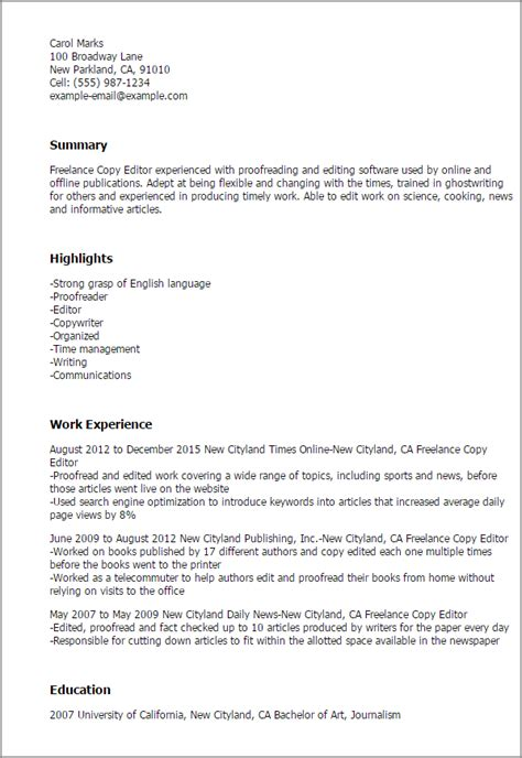 Copy Editor Cover Letter by Professional Freelance Copy Editor Templates To Showcase Your Talent Myperfectresume