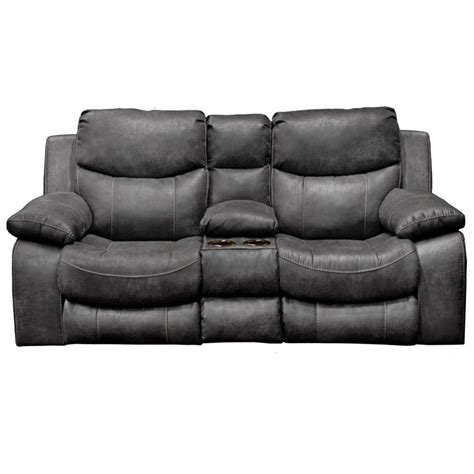 Catnapper Loveseat Recliner by Catnapper Leather Reclining Console Loveseat In