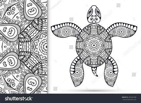 geometric turtle coloring page decorative stylized sketch turtle seamless mandala stock