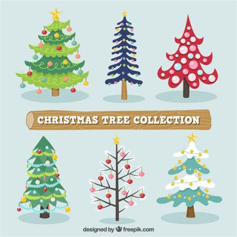 christmas trees collection vector free download