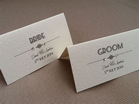 Handmade Place Cards For Weddings - 10 x handmade personalised vintage deco style name