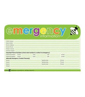 Emergency Information Card Template by Cdwishlist Emergency Information Cards Reports