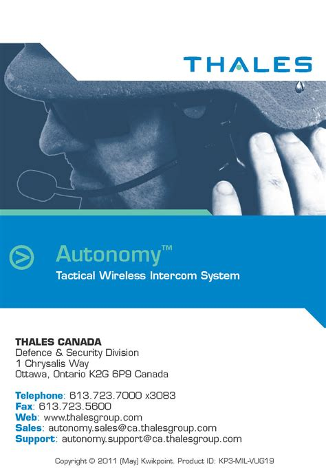 thales autonomy wireless intercom visual user guide