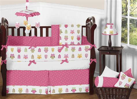 owl crib bedding for girls designer pink and white happy owl nature theme baby girl