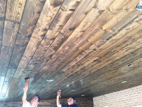 stained tongue  groove white pine porch ceiling