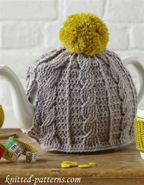 tea bag hat knitting pattern cabled tea cosy