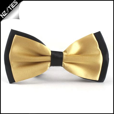 light gold with black back bow tie nz ties