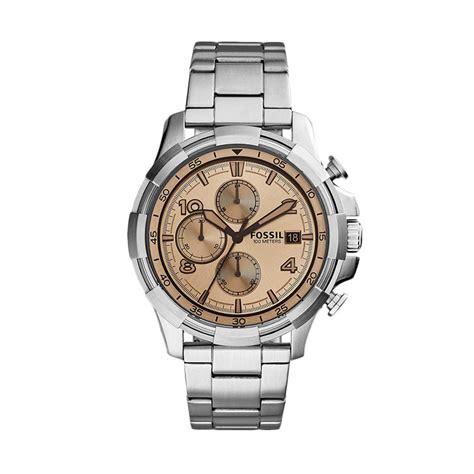 Jam Pria Fossil Crono On Silver Jual Fossil Dean Chronograph Beige Fs5163 Jam