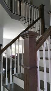 Refinishing Stair Railing by Stair Refinish New Tread And New Railing