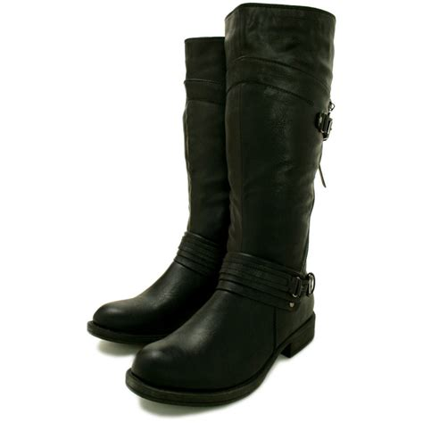 buy flat knee high biker boots black leather style