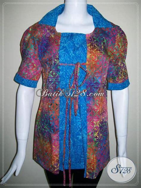 Dress Batik Modern Bisa Seragam Stok Banyak busana blus batik trendy dan mewah pakaian batik seragam kerja cewek karir til feminim bisa