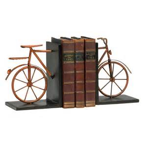 Unique Bookends For Sale Antique Red Rustic Metal Bicycle Decorative Bookends Kathy Kuo Home