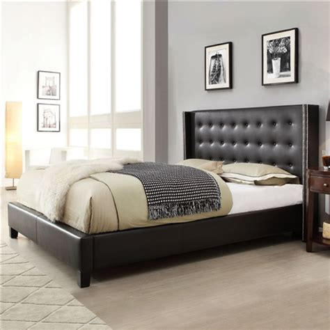 Leather Wingback Headboard by Size Black Faux Leather Upholstered Bed With