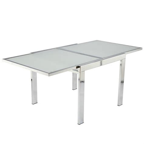 Square To Rectangular Extending Dining Table Eurostyle Duo Square Rectangular Extension Dining Table In Chrome And Frosted Glass 30300a