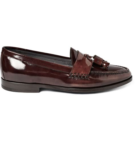 patent leather loafer lanvin patent leather tasselled loafers in for lyst