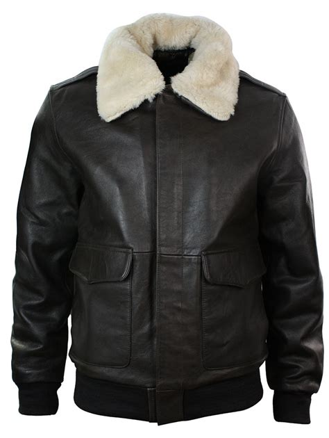 Jaket Pilot Bomber By Judapran mens real fur collar leather bomber pilot flying jacket