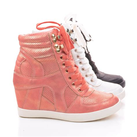sneaker wedge heels eric9 lace up high wedge heel fashion sneakers ebay