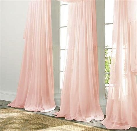 chiffon curtains drapes pale pink chiffon curtain sheer window by zylstraartanddesign