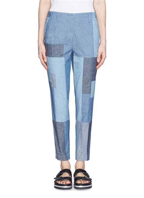 Patchwork Denim - 3 1 phillip lim denim patchwork cropped in blue lyst