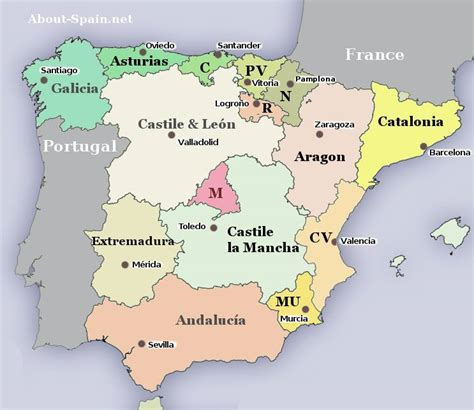 map of spain and regions madrid region map