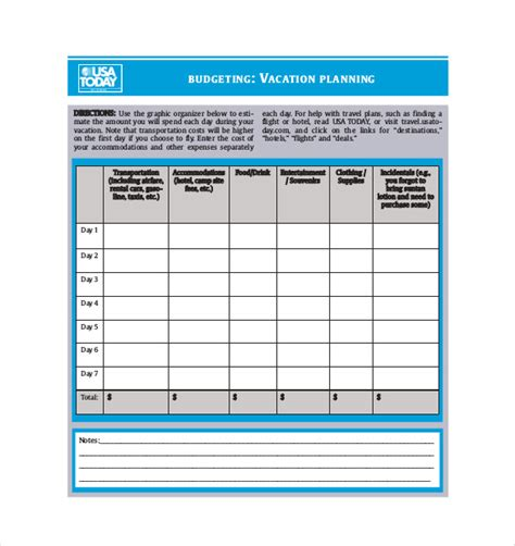 travel budget template 9 free word excel pdf