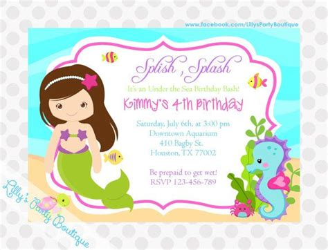 printable birthday cards mermaid stunning mermaid birthday party invitations which popular