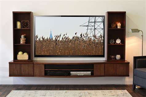 floating tv stand wall mount entertainment center curve