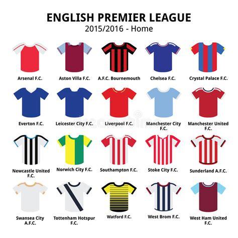 english football league and 1862233551 english premier league 2015 2016 football or soccer jerseys icons set stock vector
