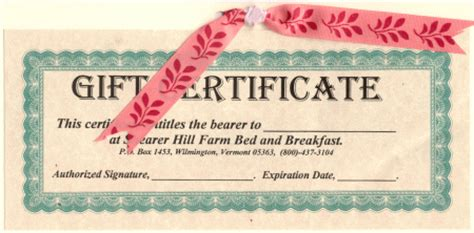 bed and breakfast gift card vermont bed and breakfast gift certificates